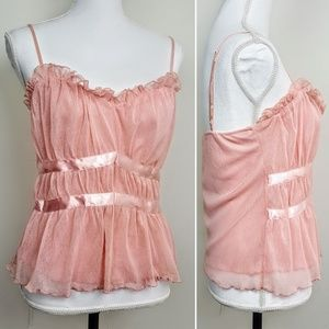 NWT RAMPAGE Evening Top, Pink Ribbons Ruffle Sexy